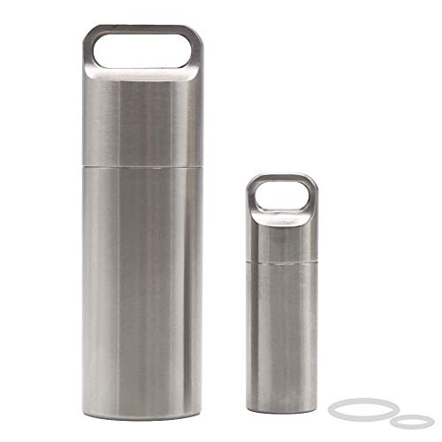 HRX Package Waterproof Stainless Steel Pill Case Keychain, Durable Small Pill Box Bottle Holder Tough for Men Purse Pocket Outdoor EDC Tool - Case Steel Cylinder