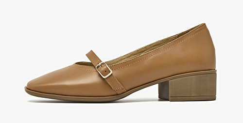 Heels Honeystore Mary Commuting Uniform Jane Women's Block Shoes Leather Dress Brown qYYUR