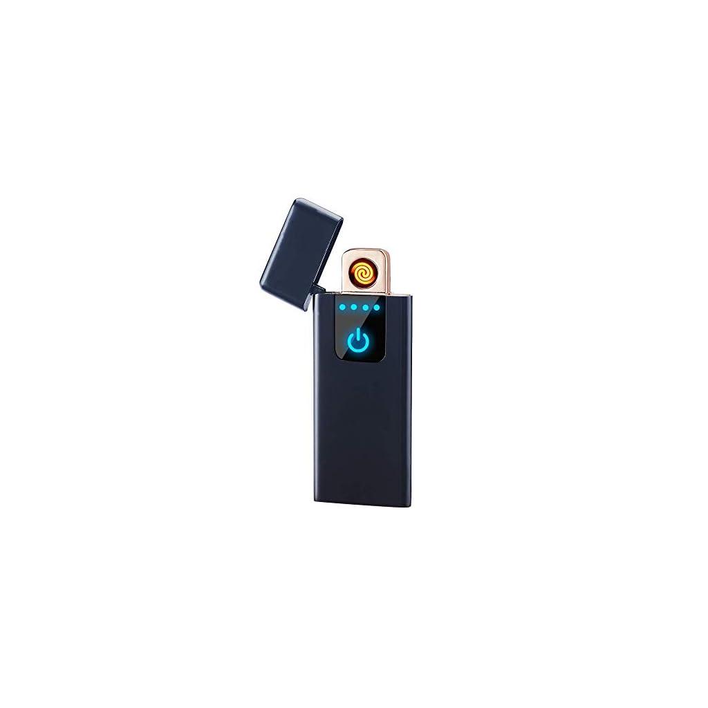 LINGAN USB Lighter Slim Lighter Portable Rechargeable Flameless Windproof Electronic Smart Fingerprint Sensor Double Side Cigarette Ignition