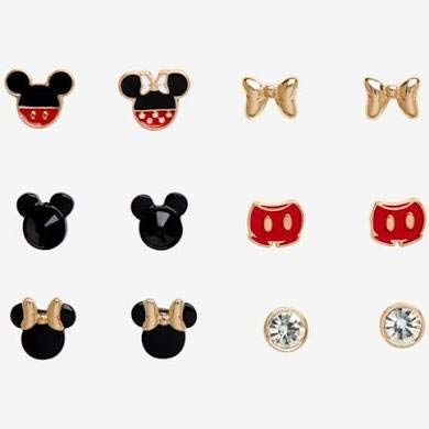[해외]디즈니 90 주년 미키 & 미니 마우스 귀걸이 6 세트 / Disney 90th Anniversary Mickey & Minnie Mouse Earrings 6 Sets