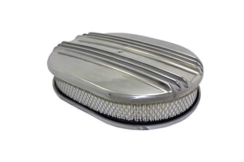 12″ Classic Finned Polished Aluminum Oval Air Cleaner W/Filter Chevy V8