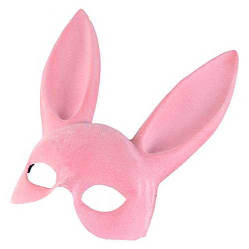 FUNZZY Easter Costume Accessory Rabbit Ear Mask Half Face Bunny Ear Mask for Party Bar Cosplay Accessory -