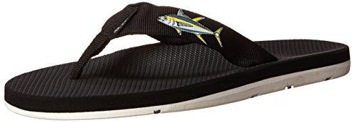 Scott Hawaii Mens Hokulea Sandals | Size 13 Black Flip-Flop | Ahi Fish Design | Non-Marking White Bottoms