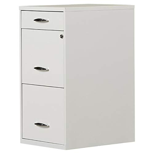 Metal Filing Cabinet with 2 Lock Drawers - 3 Drawer Filing Cabinet - White Classified