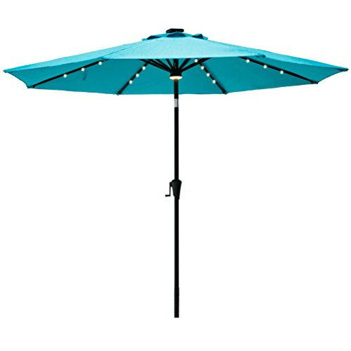 FLAME&SHADE 9′ Solar Outdoor Patio Umbrella Market Style with LED Light and Tilting for Balcony Table Deck or Garden, Aqua Blue