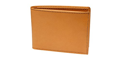 London Tan Genuine English Bridle Leather Bifold Wallet - American Factory Direct - Gift Wallets for Men – Slim Money Holder - Made in the USA by Real Leather Creations - Leather Usa