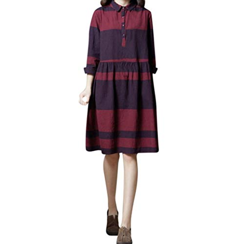 FANOUD Autumn and Winter Women's Long Sleeve Cotton and Linen Plus Size Striped Print Loose Long Dress ()