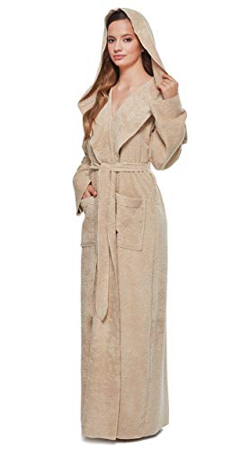 Arus Womens Princess Robe Ankle Long Hooded Silky Light Turkish Cotton Bathrobe Latte Large -
