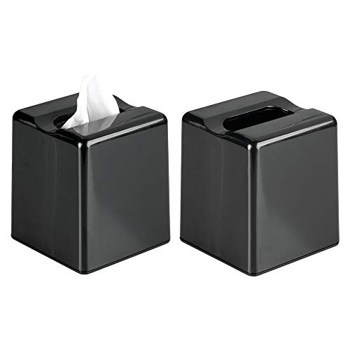 (mDesign Modern Square Plastic Paper Facial Tissue Box Cover Holder for Bathroom Vanity Countertops, Bedroom Dressers, Night Stands, Desks and Tables - 2 Pack - Black)