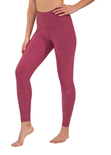 90 Degree By Reflex - Performance Activewear - Printed Yoga Leggings - Rose Clay Star Print Ankle - Small