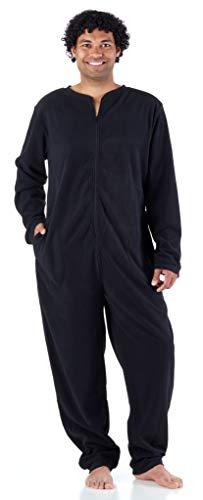 Sleepyheads Men's Adult Non Footed Fleece Color Onesie Pajama Jumpsuit (SH2200-1011-MED), Black W-Black Zipper, Medium