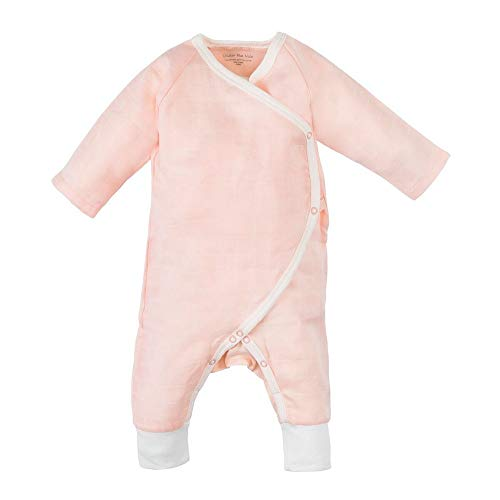 (Under the Nile Baby Girl Light Peach Muslin Side Snap Kimono Organic Cotton (Newborn))