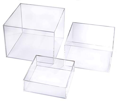 Crystal Clear Acrylic Cube Display Nesting Risers with Hollow Bottoms | Transparent - - Large Clear Crystal Acrylic