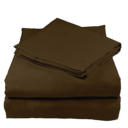 Whisper Organics Organic Sheets Sets GOTS Certified Organic - Ethically Made 200 Thread Count Soft Cotton Bed Sheets - Best Sheet Set (Queen, Brown)