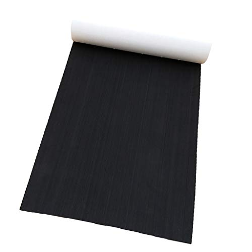 SM SunniMix Deluxe EVA Faux Teak Decking Sheet for Boat Yacht Non-Slip & Self-Adhesive Boat Flooring Pad 87 x 26 x 0.2 inch - Black ()
