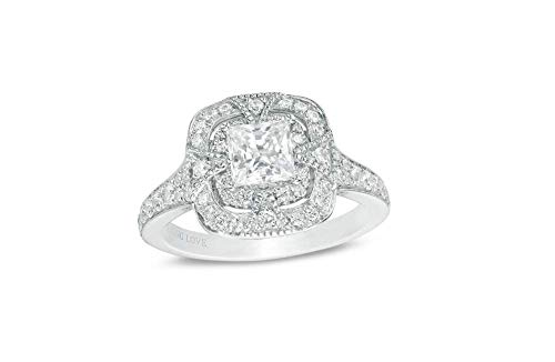 (Vera Wang Love Heirloom Collection 1 CT. T.W. Princess-Cut Diamond Frame Engagement Ring in 14K White Gold,All US Size Available,Message us Your Ring Size)