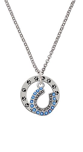 - Beaded Blue Crystal Horseshoe with Good Luck - Paw Prints Affirmation Ring Necklace