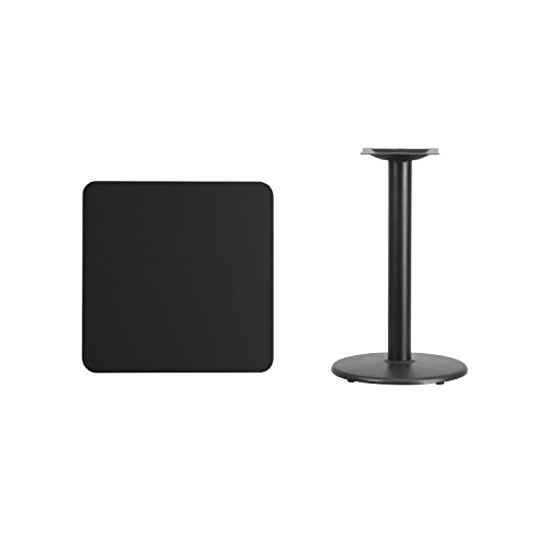 Flash Furniture 24'' Square Black Laminate Table Top with 18'' Round Table Height Base by Flash Furniture