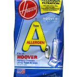 Hoover Filter Bags Type A Allergen Filtration 4010100A (3 Packs of 4) Total of 12 Bags (Vacuum Bags Hoover A compare prices)