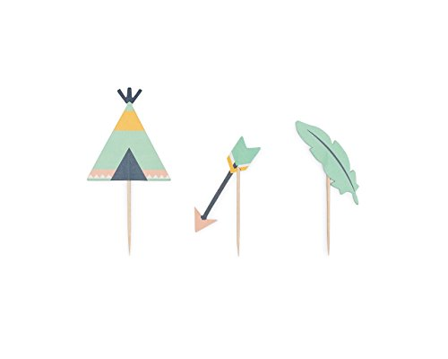 Boho Party Cupcake Decorating Complete Kit Includes Arrow, Teepee, and Feather Toppers, Scale, Tribal, and Bohemian Wrappers, and Extra Bonus! Wild One Baking Liners! by Royal Icing Baking Supply Co. (Image #3)