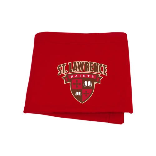 (CollegeFanGear St. Lawrence Red Sweatshirt Blanket 'Official Logo')