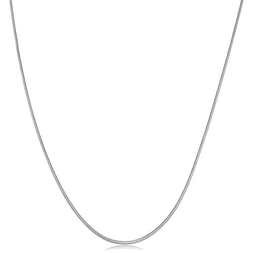 14k White Gold Square Snake Chain Necklace (0.7mm, 18 ()