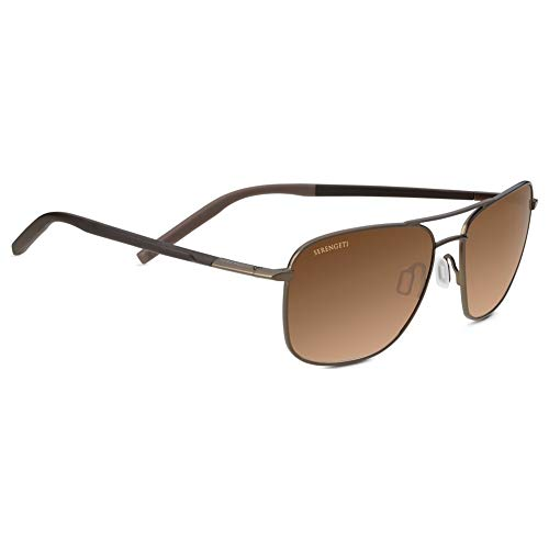 Serengeti Spello Sunglasses, Matte Espresso/Chocolate Brown Frame/Polarized Drivers Gradient Lens