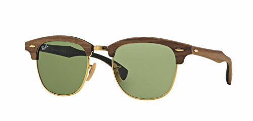 Ray-Ban RB3016M Clubmaster Wooden Square Unisex Sunglasses (Walnut Rubber Green Frame, Green Lens - Ray Ban Wood Glasses