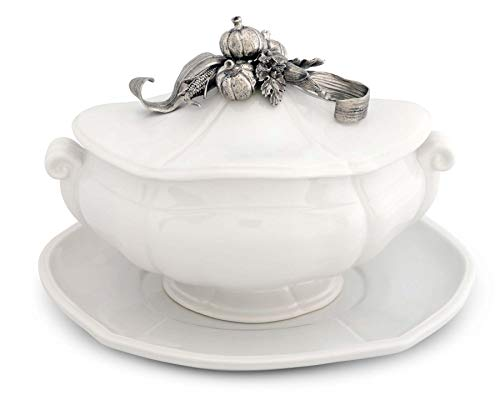 Vagabond House Soup Tureen Stoneware Pewter Harvest Pattern Pumpkins corn stock and fall leaves - 3 pieces Tureen/Lid/Tray