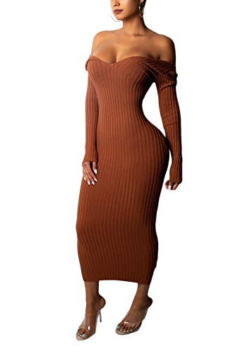 Cosygal Women's Casual Sexy Solid Off Shoulder Slim Maxi Long Knit Sweater Dress Brown Large
