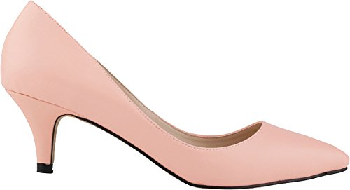 Pumps Party Bridesmaid Wedding OL PU Salabobo Bride Pink Womens Smart Heel Low Toe Night Pointed xIO0w