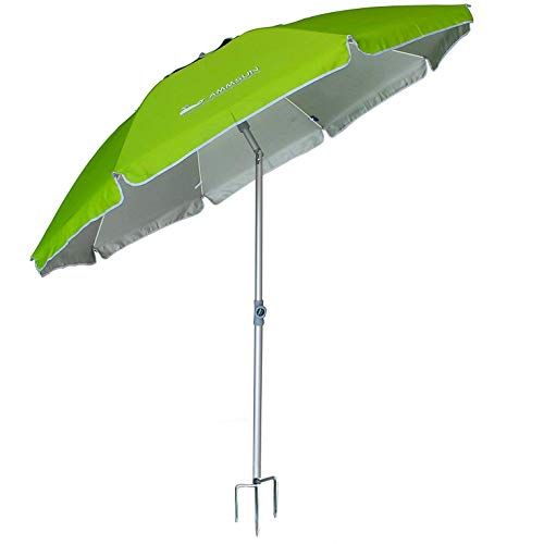 AMMSUN 2018 6.5 ft Outdoor Patio Beach Umbrella Sun Shelter with Tilt Air Vent Inclined, Heat Insulation, Antiultraviolet Function, for Patio, Garden, Fishing, Sports, Outdoor, Camping, Picnic/Green by AMMSUN
