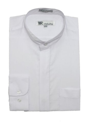 TDC Collection Men's Cotton Blend Banded Collar Dress Shirt SG01-White-16-16 1/2-34-35