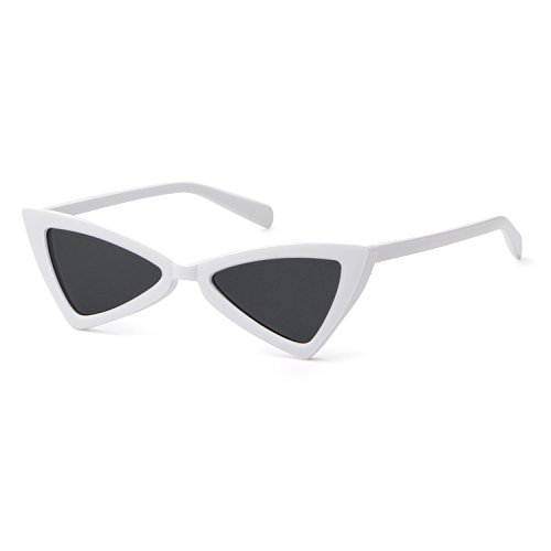 Metal Hinge Women Butterfly Cat Eye Sunglasses Fashion Triangle Glasses (white, (White Square Sunglasses)