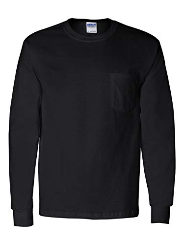 Gildan Adult Ultra Cotton Long Sleeve Pocket T-Shirt - Black, Medium - Adult Ultra Cotton Pocket