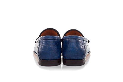Santoni Blau Perforiertes Loafers Handgemachte Schuhe Leder Aus 4xvr4wY