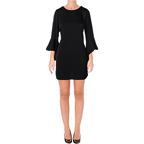 Bar III Womens Ruffled Shift Party Dress Black M