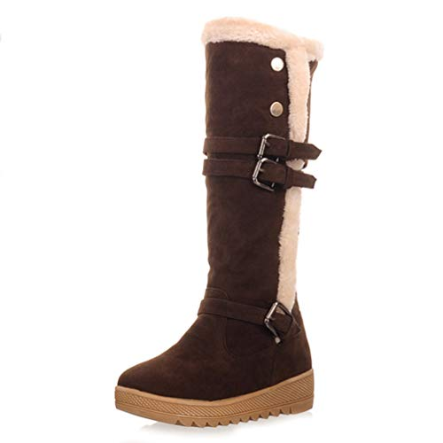 QSCQ Womens Winter Knee High Boots Warm Fur Lined Buckle Strap Thick Platfrom Gladiator Snow Boots