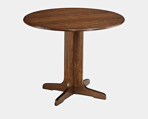 40' Drop Leaf Table - Round Top Wood Dining Table - Extendable Dining Table with 2 Leaves - Medium Brown