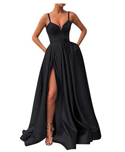 Fanciest Women's Spaghetti Straps Slit Satin Prom Evening Dresses with Pockets Black - Little Dress Satin Black
