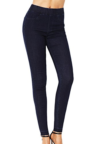 Denim Femmes ulein Fox Serr Pantalons Fr Fashion Jeans Trousers Crayon Bleu lastique Taille Casual Marin PAFfwg