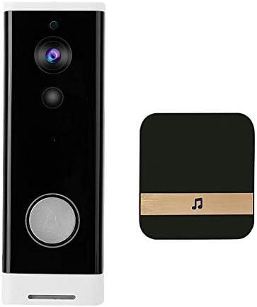 ワイヤレスビデオドアベル、インテリジェントIP WIFIビデオインターホンドアベル、アパートの赤外線警報監視カメラに使用,Doorbell + chime