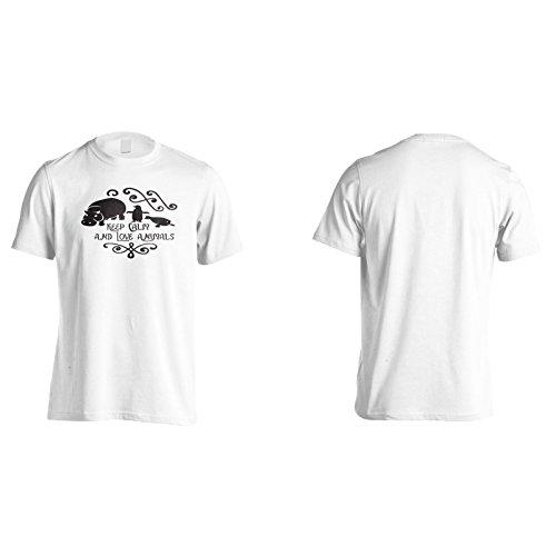 Bleib Ruhig Und Liebe Tiere Herren T-Shirt k965m