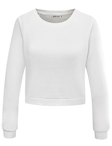 Fleece Cropped Pullover - Aphratti Women's Long Sleeve Fleece Pullover Sweatshirt Crop Top White Medium