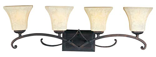 Four Light Frost Lichen Glass Rustic Burnished Vanity ()