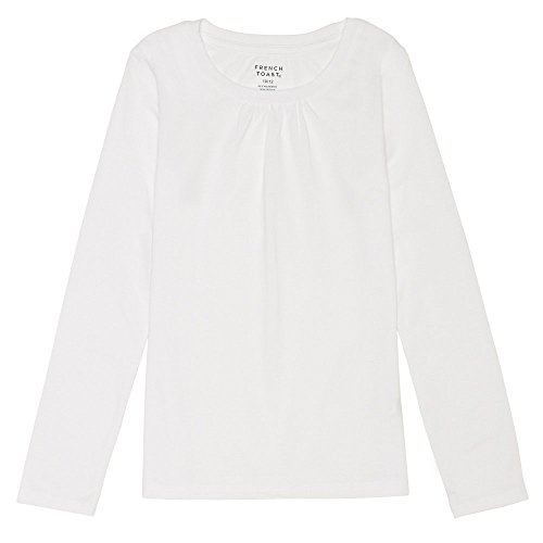 French Toast Girls' Big Long Sleeve Crewneck Tee, White, M (7/8)