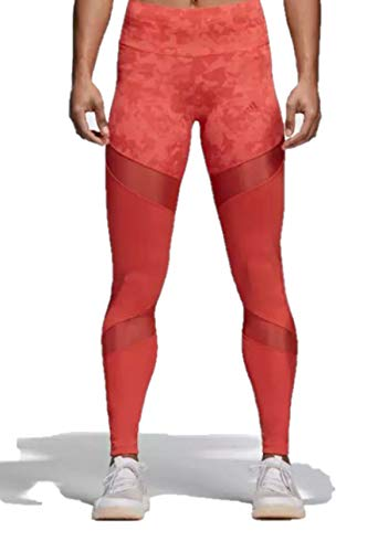 adidas Women's Climalite Ultimate High Rise Printed Long Tights, Trace Scarlet/Print,X-Small (Adidas Spring Womens)