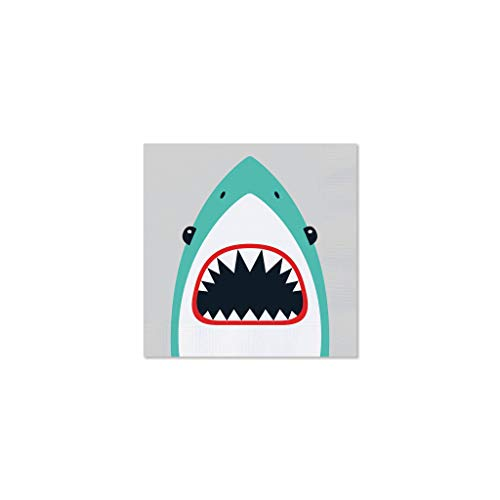(Pool Party Shark - 5 x 5 Inch Beverage Size Napkins, Set of 25)