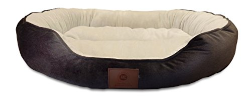 AKC Embossed Solid Pet Cuddler Bed, Tan, 32x20x8-Inch