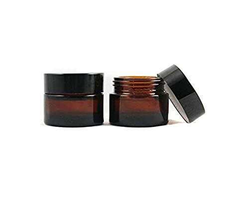 2PCS 20G/30G Refillable Empty Dark Brown Glass Bottle Cream Jar Pot Cosmetic Container with Black Screw Cap and Liners (30G)
